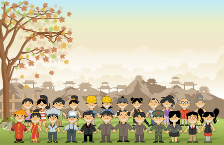 ninja ancient: Green grass landscape with chinese happy cartoon people