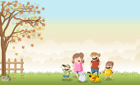 dog park: Green grass landscape with cute cartoon family.