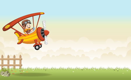 airplane: Cartoon boy pilot on the airplane flying over green grass landscape Illustration
