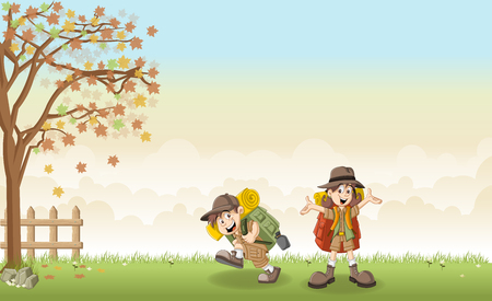 girl scout: Cute cartoon kids in explorer outfit on a green park