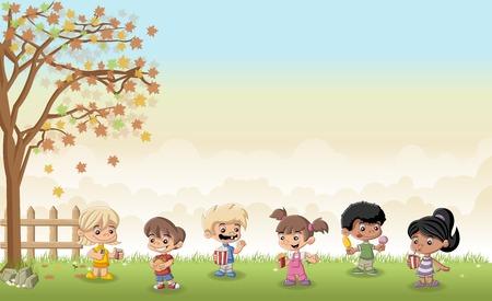 helado caricatura: hierba verde paisaje con dibujos animados los niños que comen comida chatarra