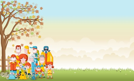family illustration: Green grass landscape with cute cartoon family.