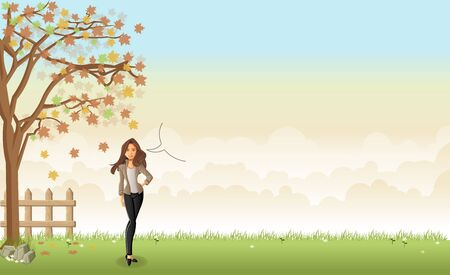 rural landscape: Green grass landscape with a beautiful cartoon woman. Happy businesswoman.