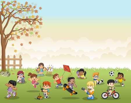 spring tree: Green grass landscape with cute cartoon kids playing. Sports and recreation.