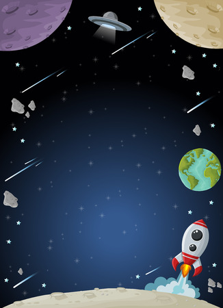 missionary: Space galaxy with moon, earth, planets and stars. Solar System.