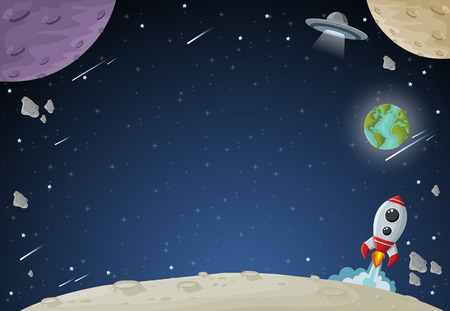 planetarium: Space galaxy with moon, earth, planets and stars. Solar System.
