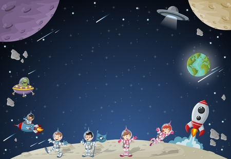 kid cartoon: Astronaut cartoon characters on the moon with the alien spaceship. Solar System.