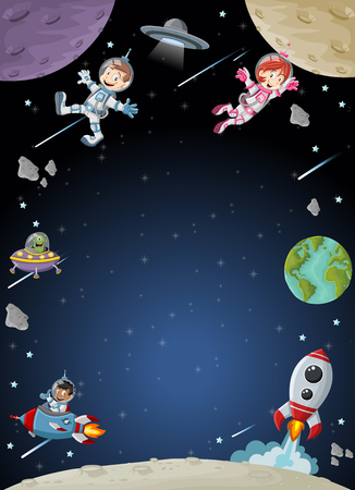 cartoon space: Astronaut cartoon characters on the moon with the alien spaceship. Solar System.