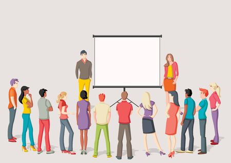 presentation screen: Business people and white billboard with empty space. Presentation screen. Illustration