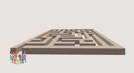 right of way: Group of business people choosing the right way of the maze. Multiple options. Illustration