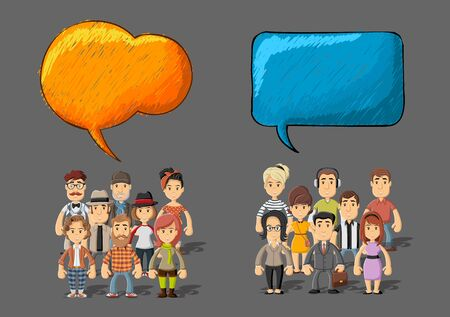 dialog balloon: Template with two groups of cartoon people talking by speech bubbles