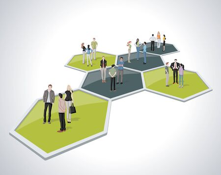 Business people connected over bee hive blocks