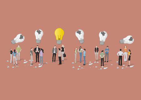 Business people thinking. Light bulb idea. Vetores