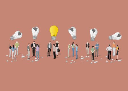 personas pensando: Business people thinking. Light bulb idea. Vectores