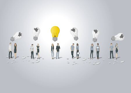 office manager: Business people thinking. Light bulb idea. Illustration