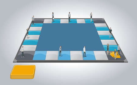 business game: Board game with business people over path.