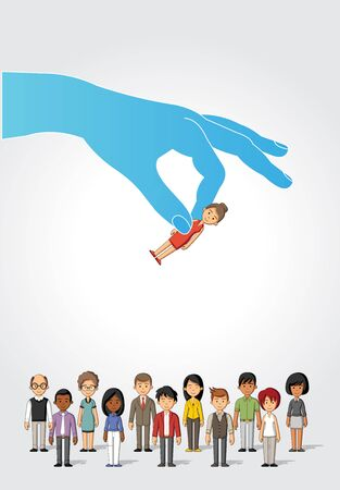 selection: Choosing the right person on a group of business people. Hiring selection.
