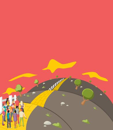 brick road: Business people trying to cross the Yellow Brick Road on the hill Illustration