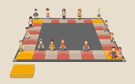 Board game with cartoon people over path.