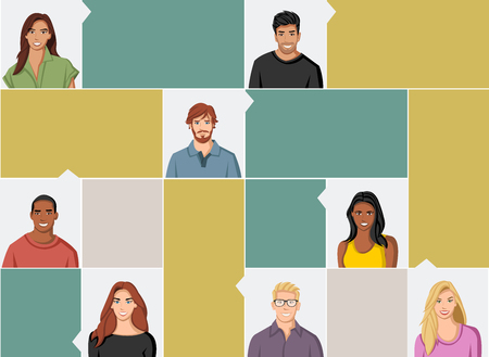 blonde teenager: Template for advertising brochure with large group of people faces Illustration