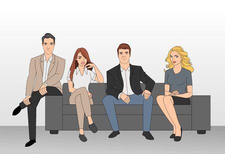 Groep van mensen uit het bedrijfsleven zitten op een bank