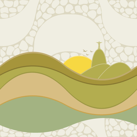 Seamless pattern of Rio de Janeiro, Brazil. Copacabana beach sidewalk mosaic. Illustration