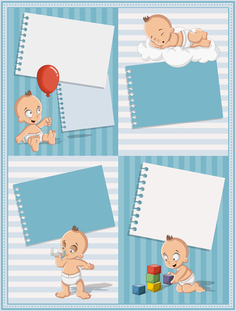 diaper: Card with a baby boy wearing diaper. Cute toddler. Illustration