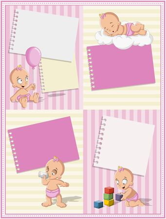 diaper: Card with a baby girl wearing diaper. Cute toddler. Illustration