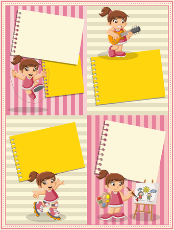 cute cartoon girl: Card with a cute happy cartoon girl playing. Sports and toys. Illustration