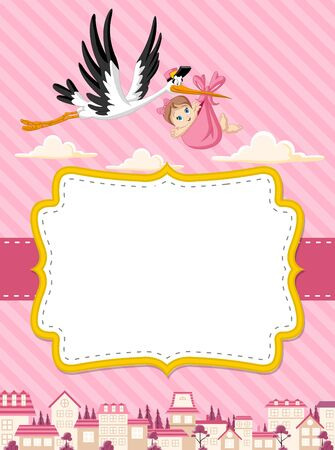 party girl: Card with a cartoon stork delivering a newborn baby girl