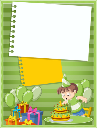 childrens birthday party: Card with a cartoon boy having fun at birthday party