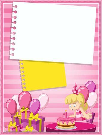 rubia: Tarjeta con una chica rubia de dibujos animados que se divierten en la fiesta de cumpleaños Vectores