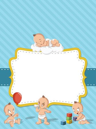 baby boy: Card with a baby boy wearing diaper. Cute toddler. Illustration
