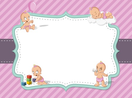 pink girl: Card with a baby girl wearing diaper. Cute toddler. Illustration
