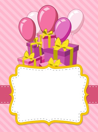 birthday presents: Pink card with a birthday party. Balloons and presents.