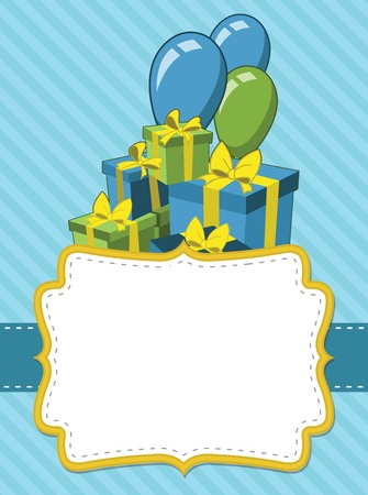 blue party: Blue card with a birthday party. Balloons and presents.