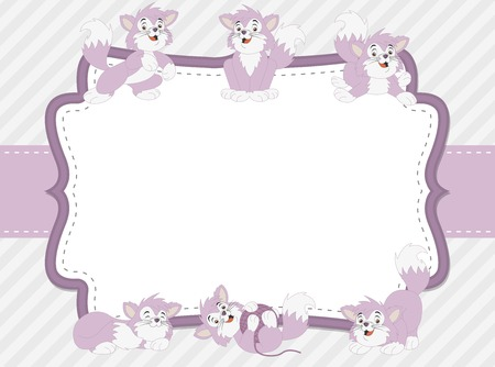 baby  pussy: Pink card with a cartoon kitten. Cute playful cat. Illustration