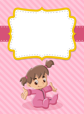toddler: Card with a baby girl. Cute toddler. Illustration