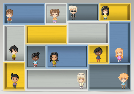 Colorful wood shelf with happy cartoon children. Design element background. Vetores