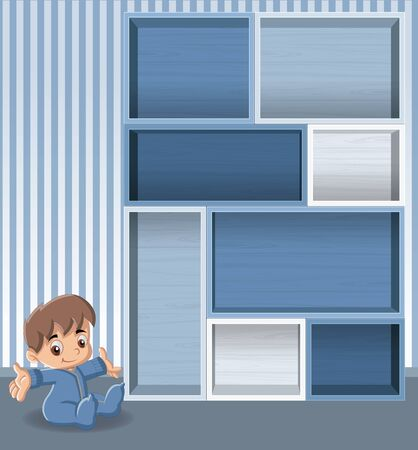 toddler: Blue wood shelf with baby boy. Cute toddler.