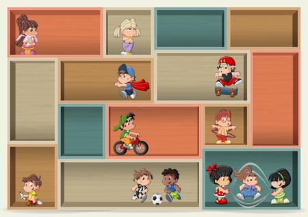 futbol infantil: Colorful wood shelf with cute happy cartoon kids playing.