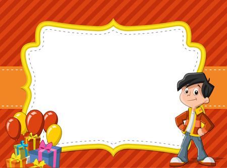 vector greeting card: Card with a cartoon boy having fun at birthday party