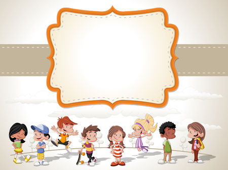 action girl: Card with a group of happy children playing cartoon