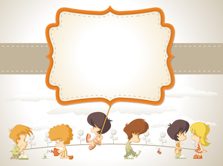 sad lonely girl: Card with a group of happy children cartoon Illustration
