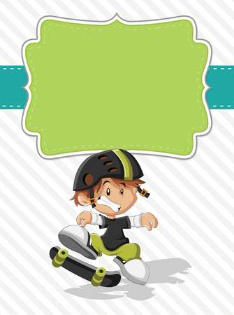 skateboard boy: Card with a cute happy cartoon boy on a skateboard