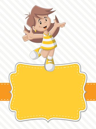 action girl: Yellow card with a cute happy cartoon girl