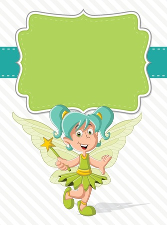 legends folklore: Green card with a cute cartoon fairy girl on colorful nature background