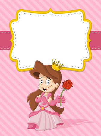 highness: Card with a happy cartoon princess