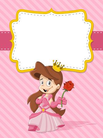 highness: Card with a happy cartoon princess