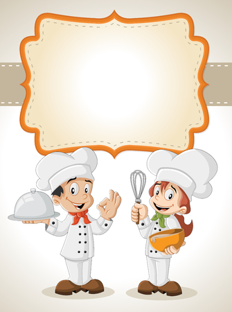 childrens food: Card with a cartoon chefs cooking